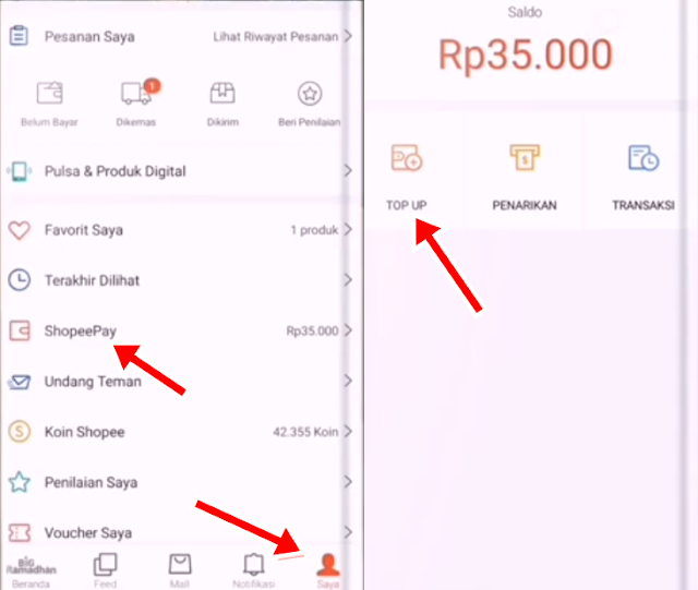 mudah top up saldo shopeepay