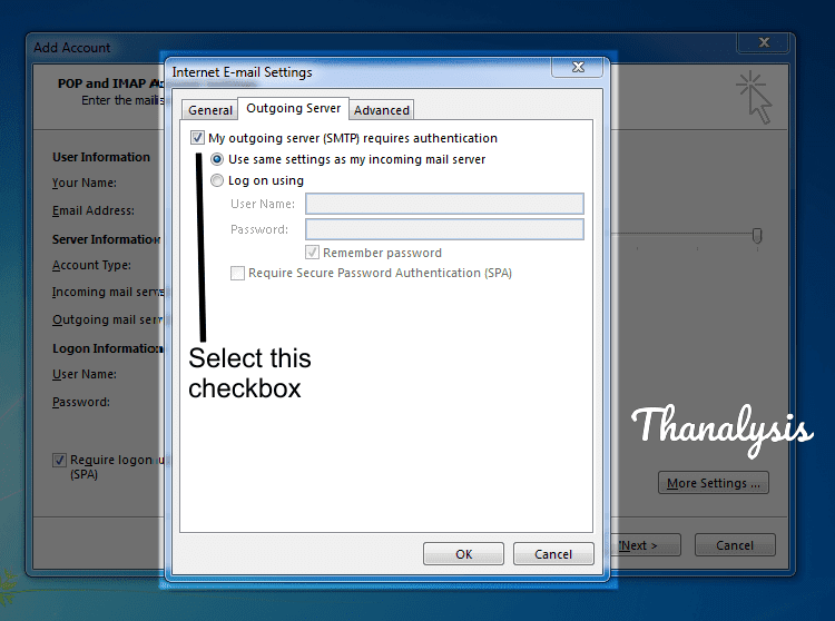 Outgoing server settings for Outlook