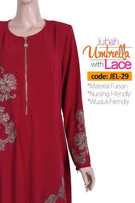 Jubah Umbrella Lace JEL-29 Red Depan 11