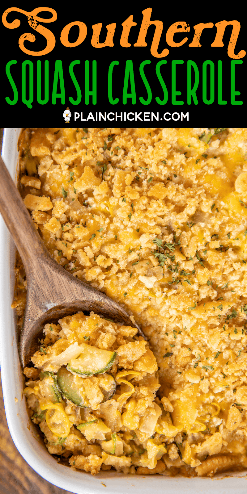 spoon scooping squash casserole from baking dish