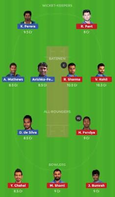 SL vs IND Dream 11 Team | IND vs SL