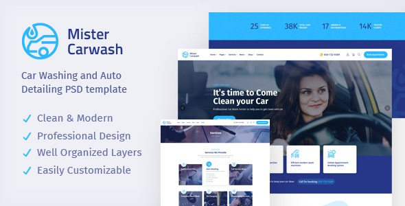 Best Car Washing Service & Auto Detail PSD Template