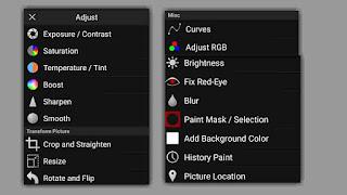 menu adjust di picsay pro