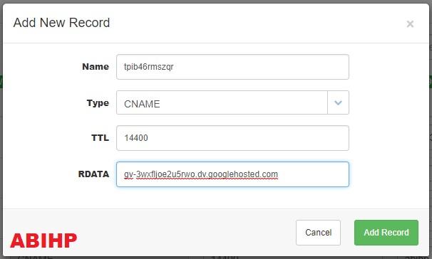 Masukkan kode cname kedua yang didapat dari blogger.