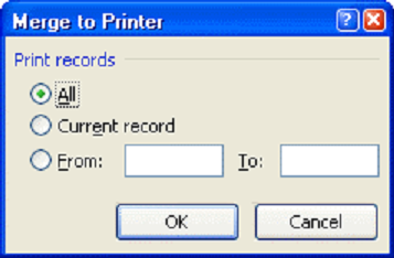 Merge to printer mail merge