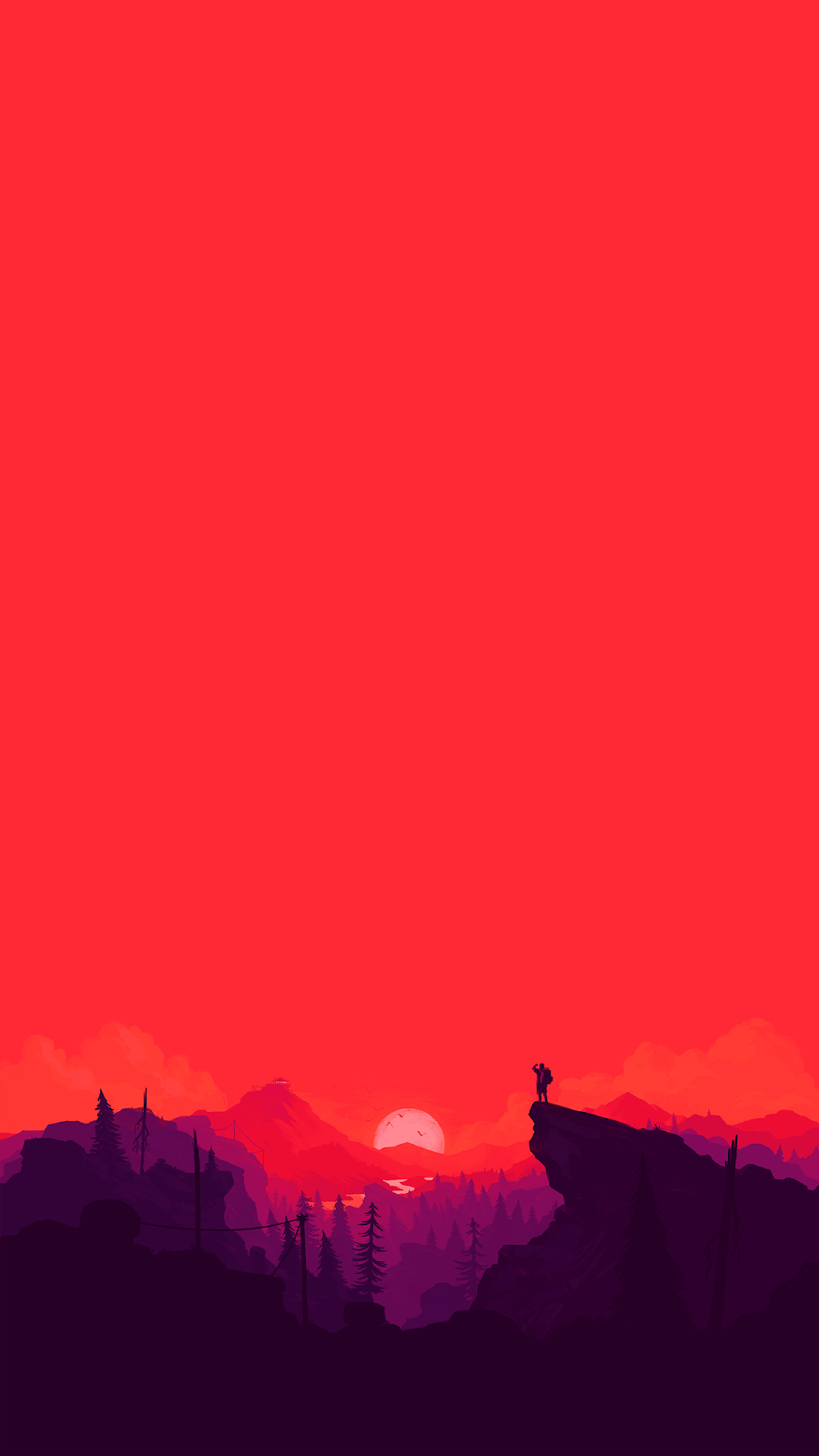sunset illustration simple background wallpaper for phone in 4k