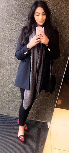 Zara military jacket, Gucci scarf, Primark shoes