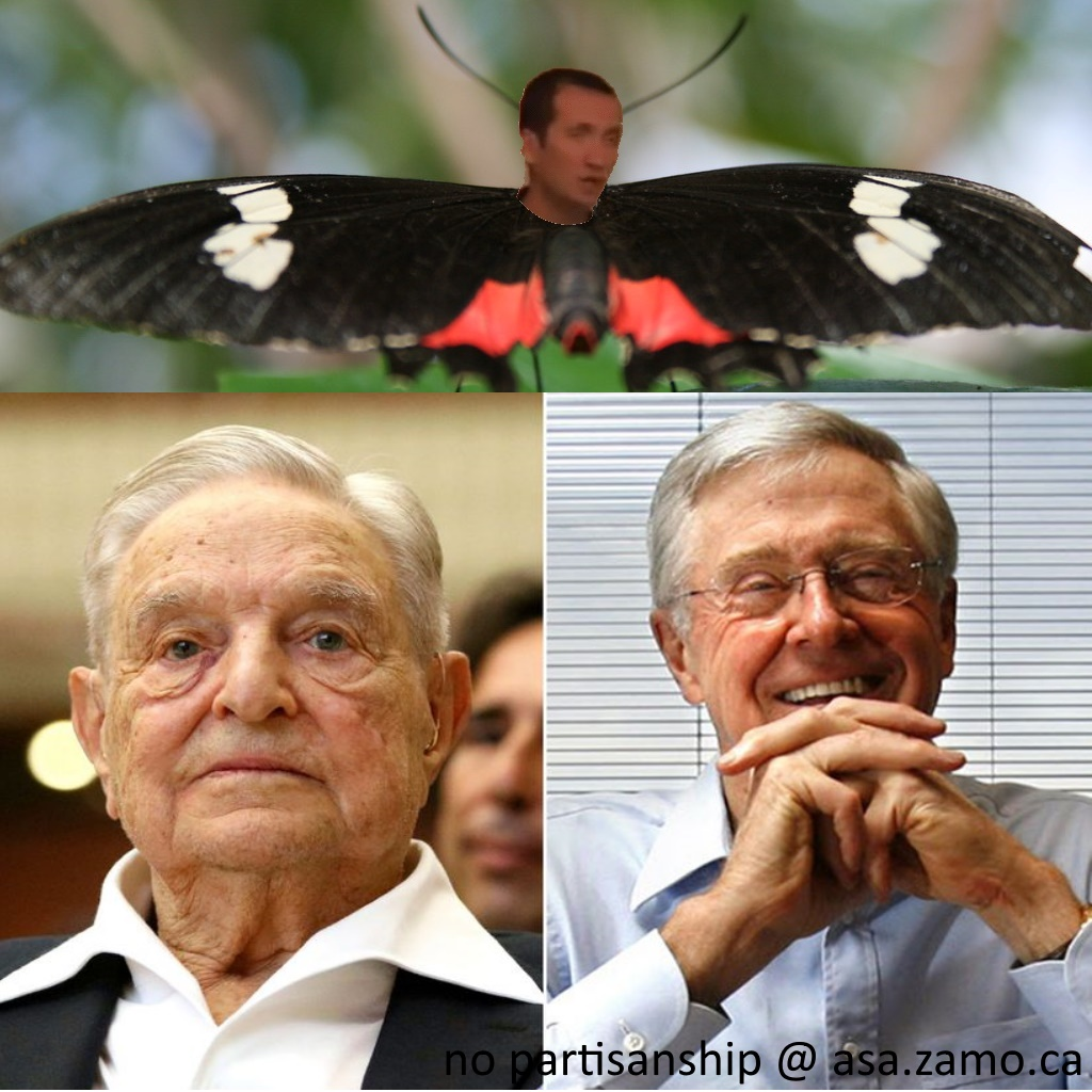 Soros, one Koch with a butterfly on top having Zoso / Vali Petcu's head