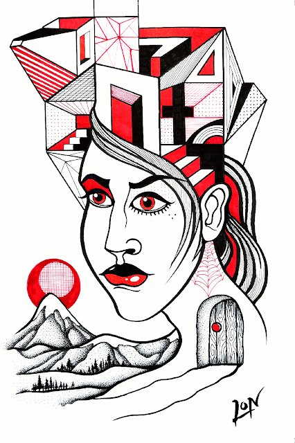 "A Series in Red and Black - Drawing 10 - ""Pretty Lady from the Mountain"""