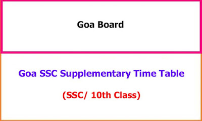 Goa SSC Supplementary Exam Time Table