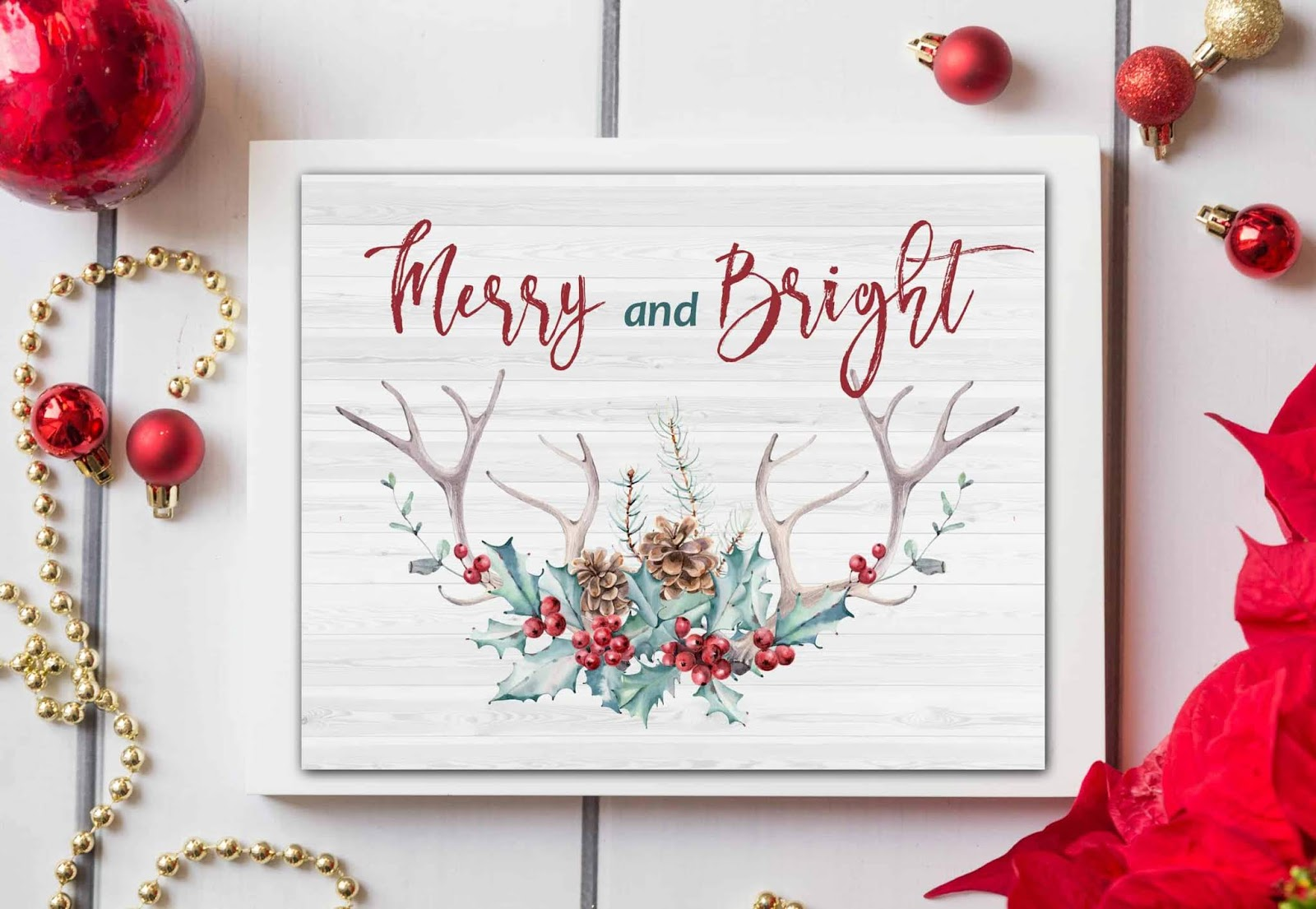 Beautiful Christmas free printable merry and bright