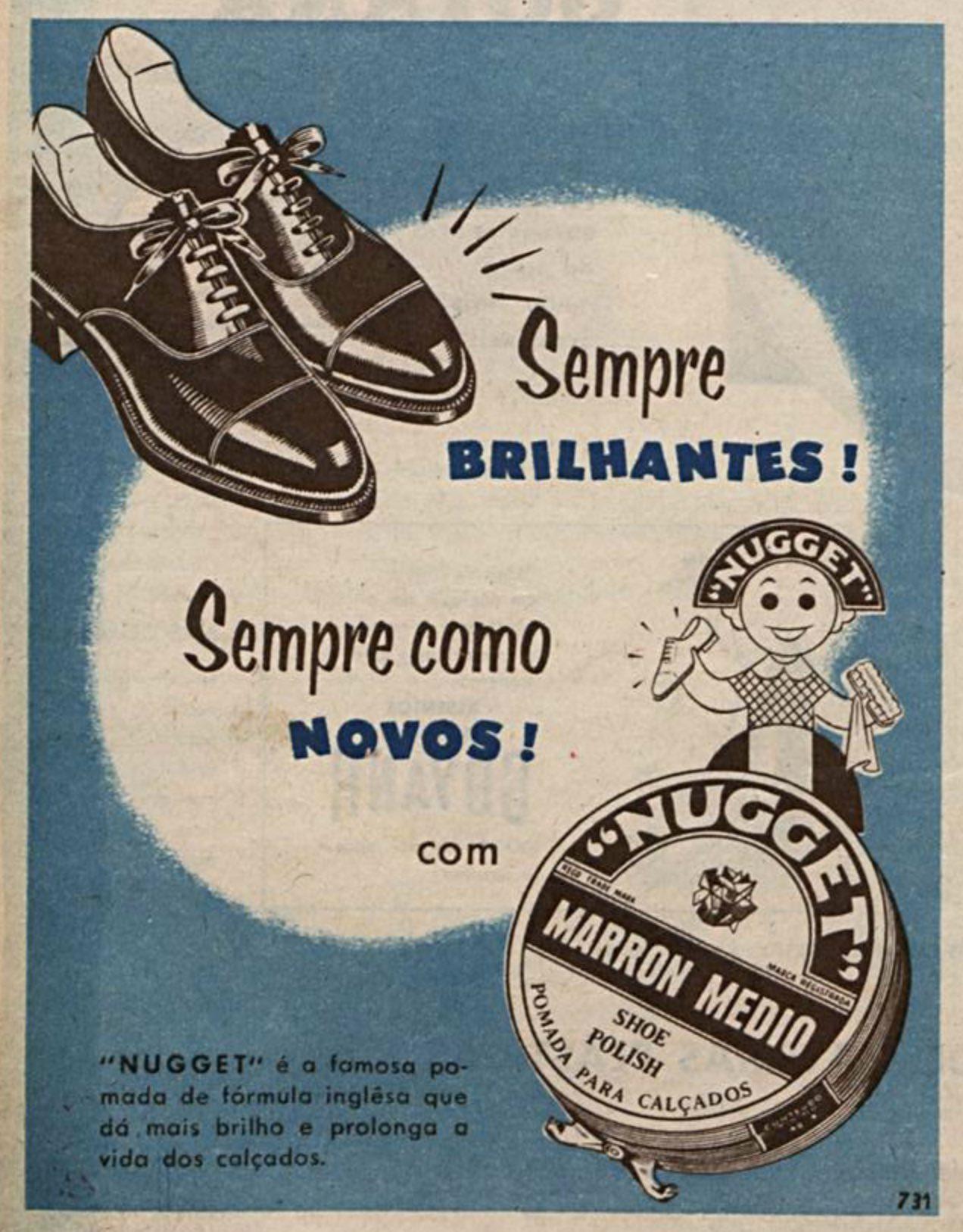 Propaganda antiga da Nugget promovendo sua pomada para sapatos em 1954