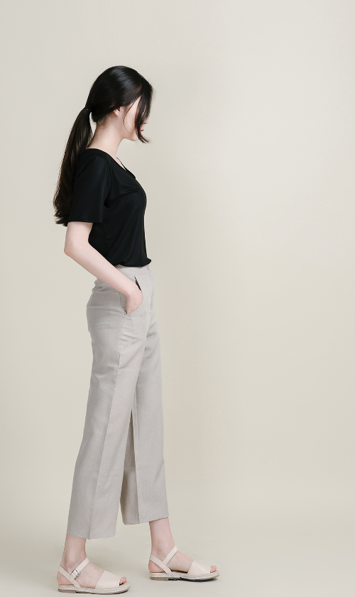 Plain Wide Leg Slacks