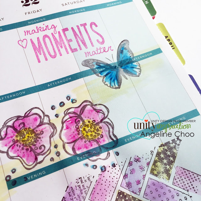 ScrappyScrappy: Making Moments Matter - Planner spread  #scrappyscrappy #unitystampco #stamp #stamping #planner #mambi #happyplanner #mamaelephant #plannerstamp