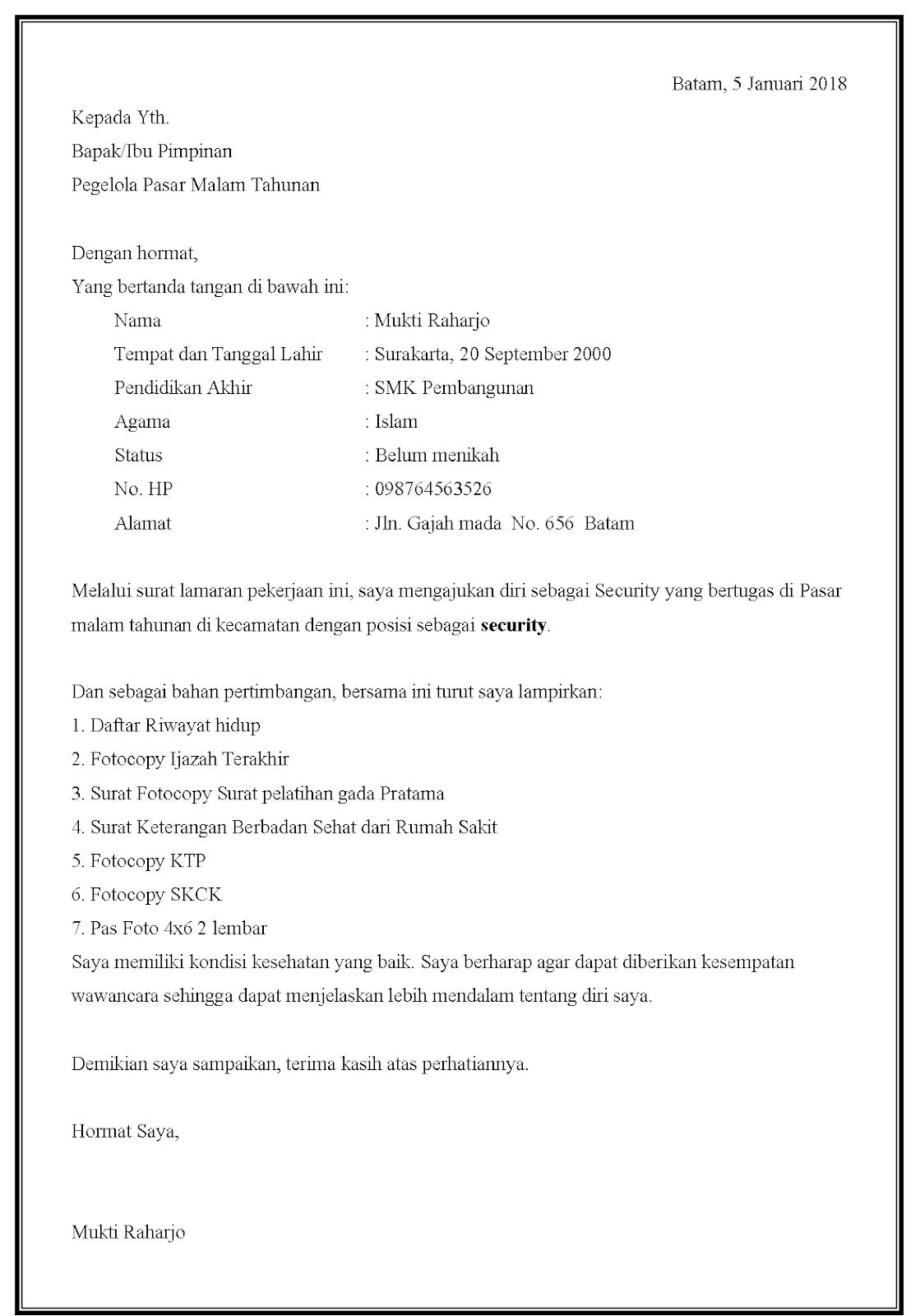 Contoh surat lamaran kerja security di acara-acara tertentu