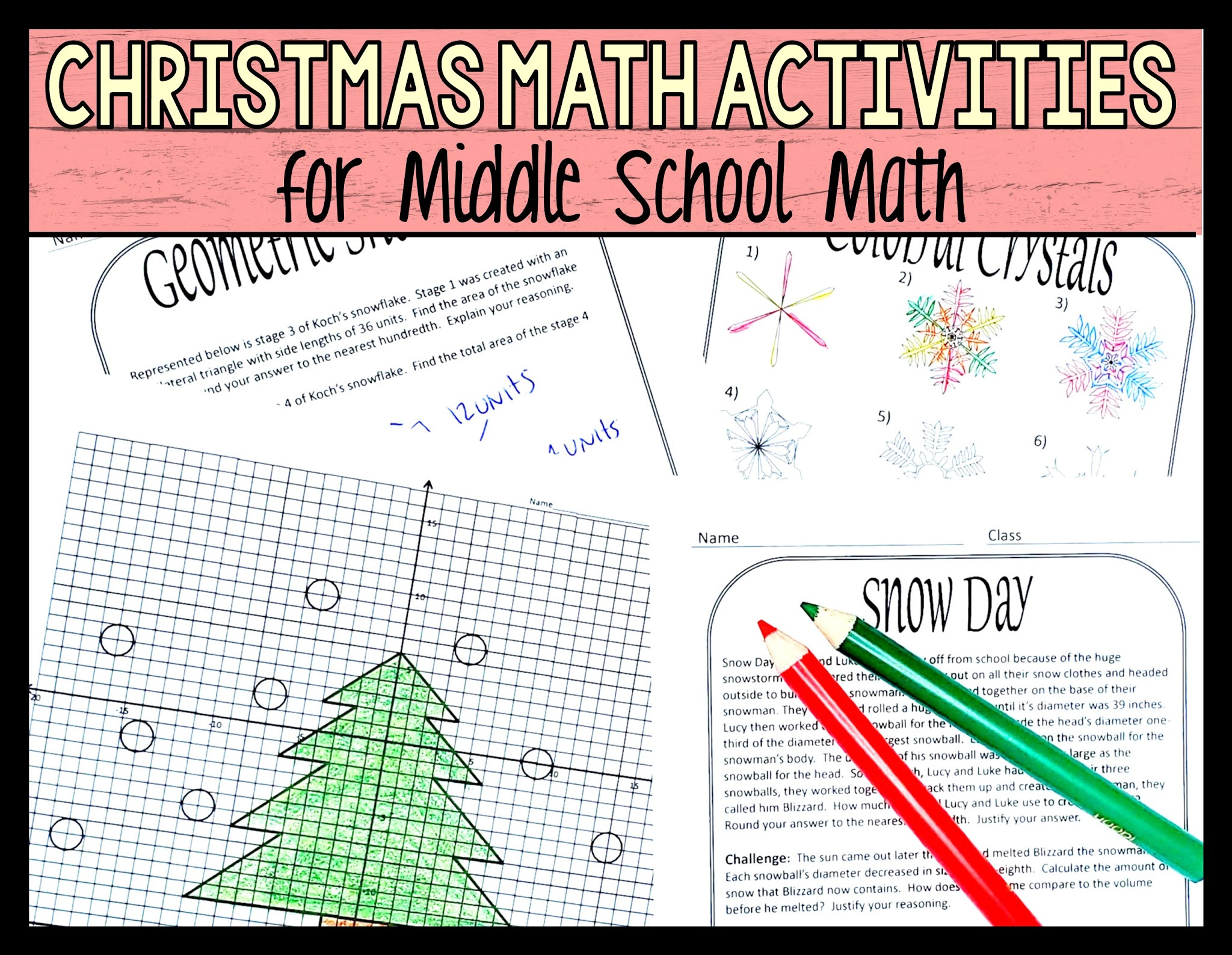 Christmas math worksheet activities for middle school math
