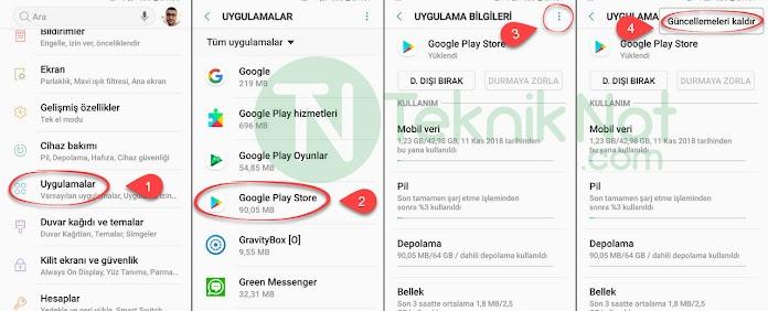 Play Store Uygulama indirilemiyor Hata kodu