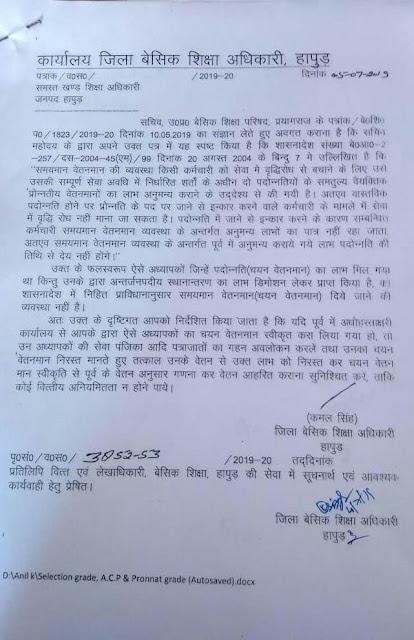 Chayan vetanman order - जान बूझकर प्रमोशन छोड़ने वाले शिक्षकों को नही मिलेगा चयन वेतनमान का लाभ, आदेश देखें -हापुड़
