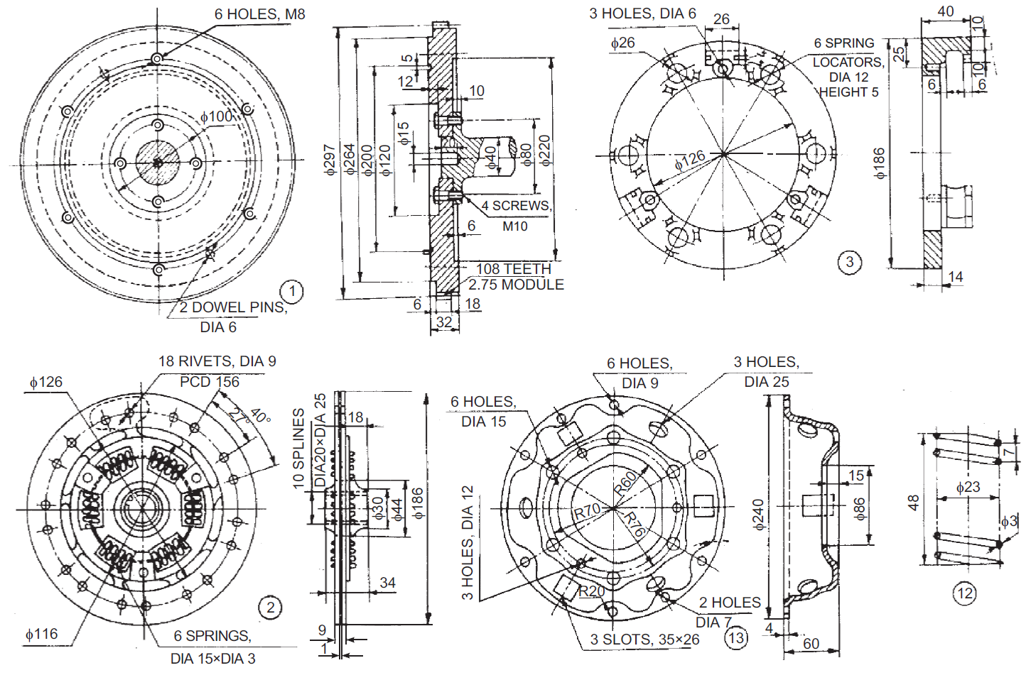 Mechanical Machine Design: Single Plate Clutch 2D Drawings
