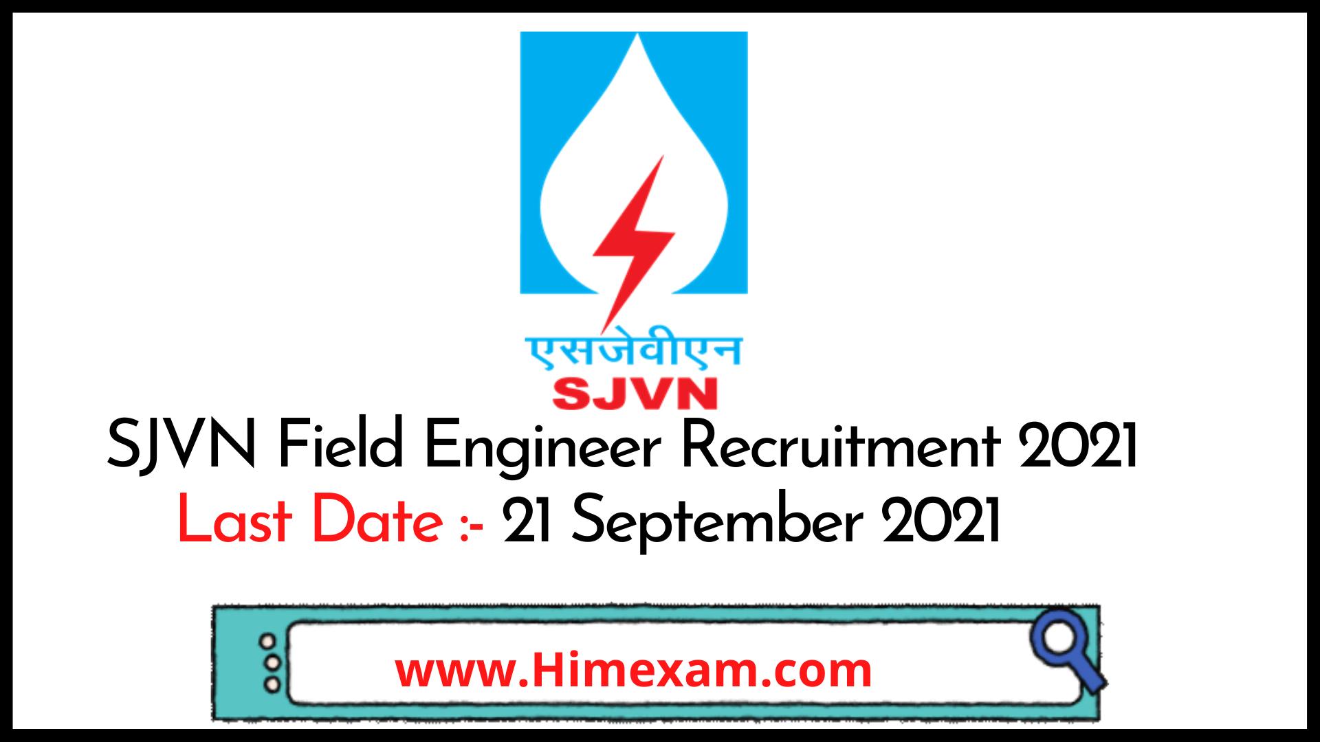 SJVN Field Engineer Recruitment 2021