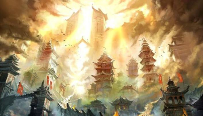 Imagem: ilustração da cidade de Yiti, com arquitetura que seria lida como influência oriental. Com grandes Torres e telhados pontudos, há várias Bandeiras vermelhas ao redor dos prédios e nuvens no céu coberta por uma luz dourada do sol incidente. Pássaros voam ao redor.