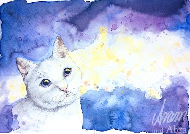 Katze, Illustration für Weihnachtskarte, Aquarell, DIN A4