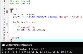 Contoh program deret bilangan 1 sampai 20 C++