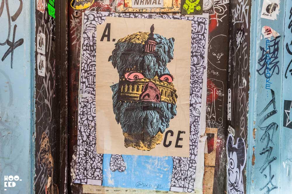 London street art paste-ups by artist A.ce London