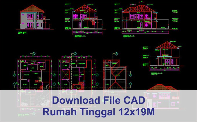 download rumah 12x19 File AutoCad