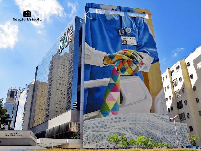 Vista ampla do moderno Hospital Nove de Julho - Cerqueira César - São Paulo