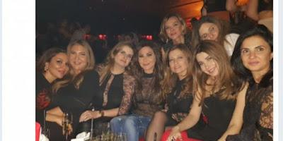 بالصور: شاهد المطربة اللبنانية إليسا في إطلالة جريئة بحفل عيد ميلاد كلودين صعب