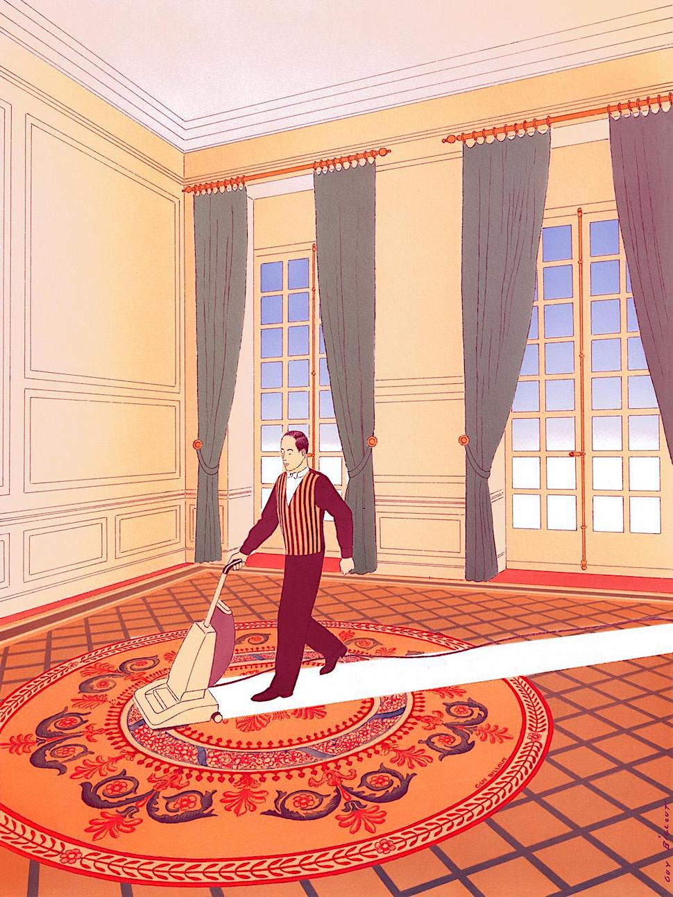 Guy Billout art, a uniformed employee vacuum cleaning a carpet in a large room