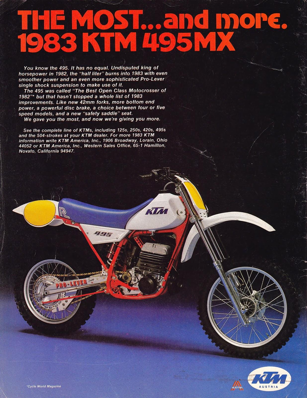 Racing Caf U00e8  Vintage Brochures  Ktm 495 Mx 1983  Usa