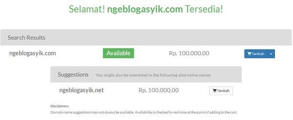 harga domain .com