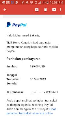 Bukti Pembayaran dari Aplikasi Wesing Android Ke-4
