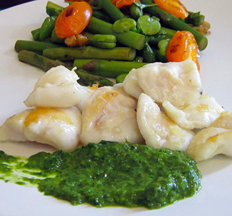 Sauteed monkfish cheeks with salsa verde.