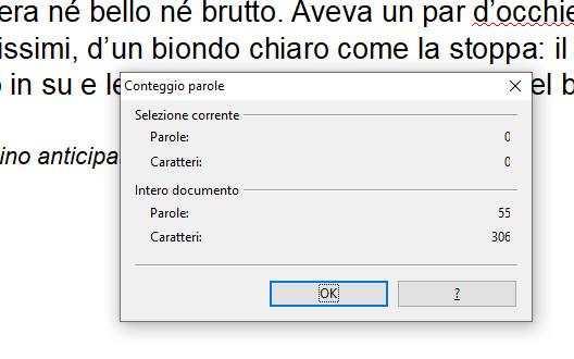 Finestra conteggio parole OpenOffice Writer