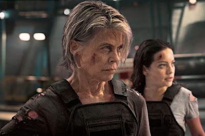 Terminator: Dark Fate (2019) movie still featuring Linda Hamilton as Sarah Conner and Natalia Reyes as Dani Ramos