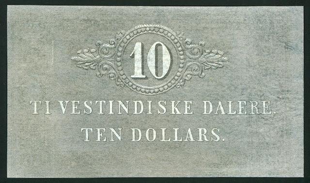 Ten Dollars banknote Danish West Indian daler