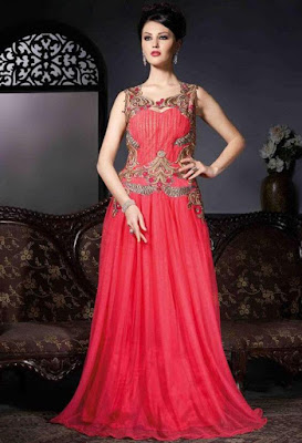 Red color Georgette, net designer wedding gown. Quite glamorous.