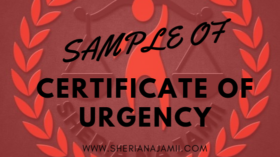 SAMPLE OF CERTIFICATE OF URGENCY