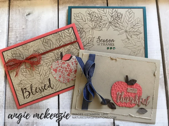 By Angie McKenzie on this Thankful Thursday; Click READ or VISIT to go to my blog for details! Featuring Gather Together, To A Wild Rose Stamp Set and the Apple Builder Punch; #simplestamping #gathertogetherstampset #toawildrosestampset #applebuilderpunch #linenthread #stampinupinks #fallcards #anyoccasioncards #thankyoucards #cardtechniques #stamping