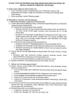 Syarat Aktivasi Rekening Dana Bantuan Sosial PIP (Sesuai Juknis PIP Nomor 967 Tahun 2020)