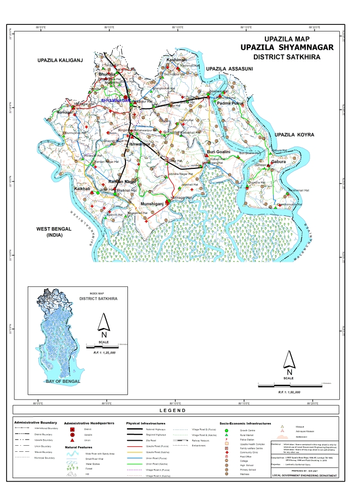 Shyamnagar Upazila Map Satkhira District Bangladesh
