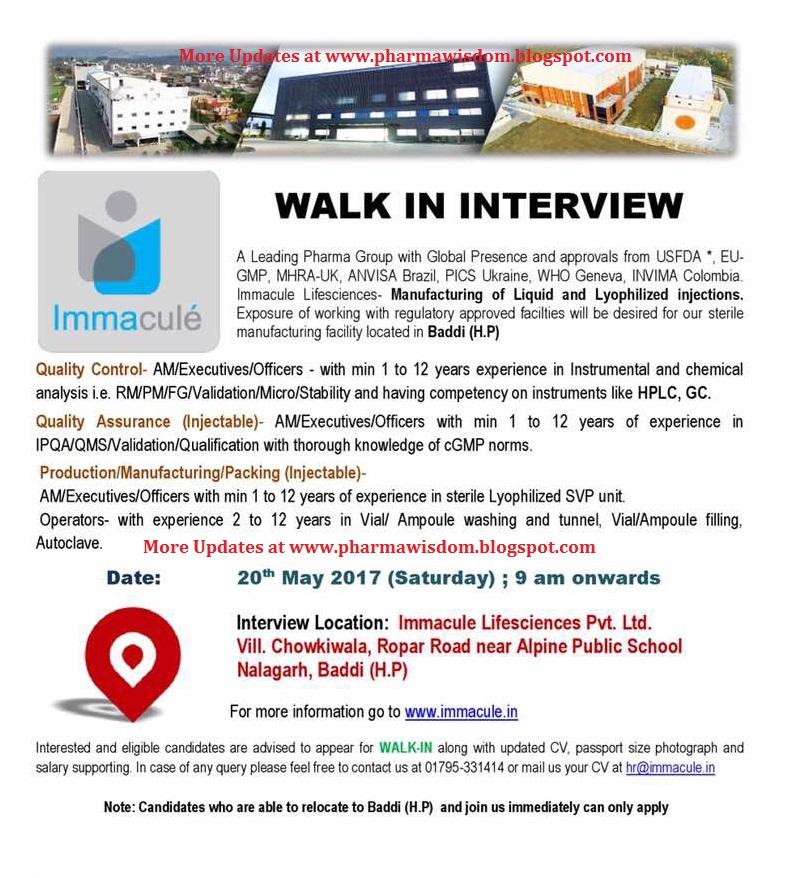 PHARMA WISDOM: Immacule Life Science Pvt  Ltd - Walk-In Interviews