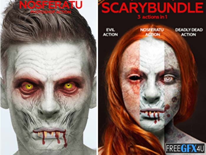 3-in-1 Scary Bundle Photoshop Action