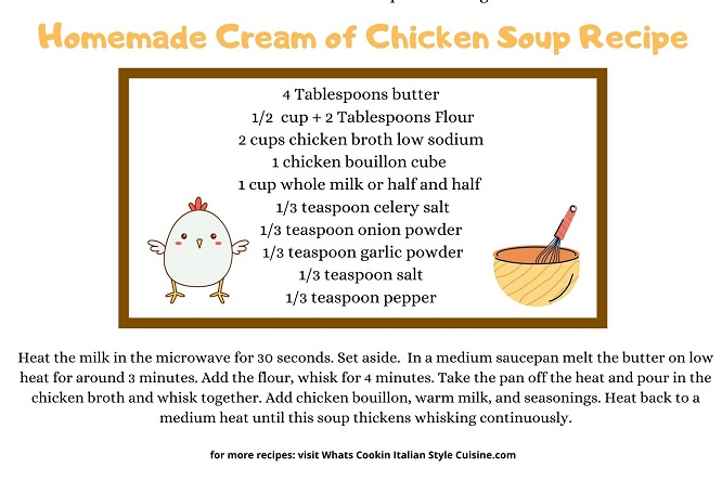 this is a index card on how to make homemade cream of chicken soup
