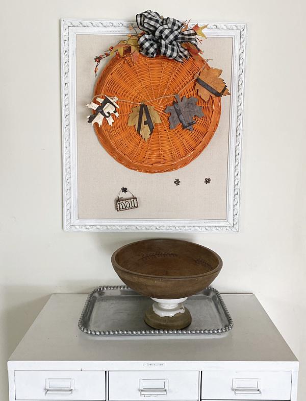 pumpkin decor on bulletin board