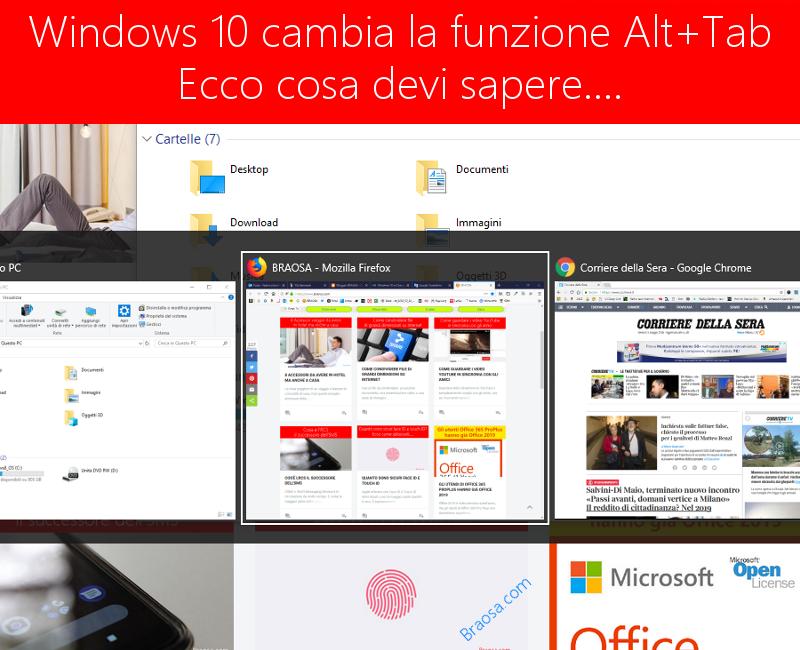 Windows 10 cambia la funzione Alt + Tab