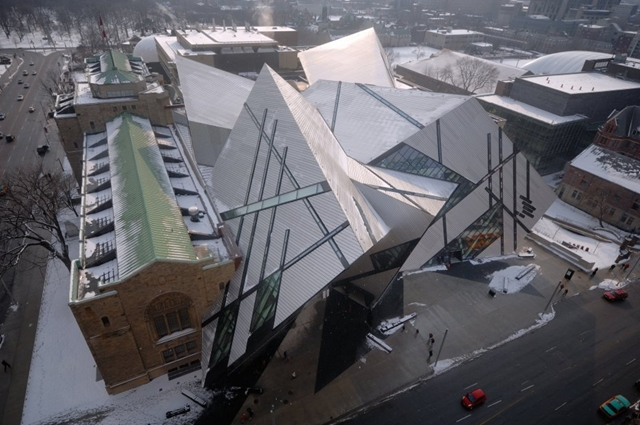 Royal Ontario Museum by Studio Daniel Libeskind as seen from the air at winter